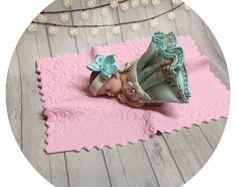 VINTAGE BABY SHOWER Spring Cake Topper Pink Baby Girl Chic tutu Topper Fondant baby Tutu Cake Topper Fondant Cake Topper baby girl