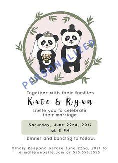 Panda Wedding Invitation Card Digital Panda by ZoePetraShop