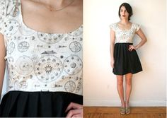 Moon Phases Constellation Zodiac Dress Sz XS S M L by rustycuts, $78.00
