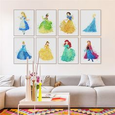 2017 Hot Sale Real Canvas Modern Princess Cinderella Print A4 Pop Fairy Tale Wall Art Girl Kids Room Home Decor In High Quality  #Affiliate