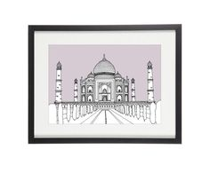 High quality giclee print of my original hand drawn pen & ink illustration of the Taj Mahal,India.  COLOURS Light Grey, Grey-Lilac, Grape, Dusk Blue, Teal, Orange, Mustard, Yellow, Greenery (2017 Pantone Of The Year) or Dark Green  SIZES - A5 (14x21cm) - A4 (21x30cm) - A3 (30x42cm) *including 4mm white border  Product Details - Giclee print - Heavyweight Epson Archival Matte Paper 192 gsm - Archival quality pigment inks with anti-fade properties  Delivery & Shipping - Aim to ship with...