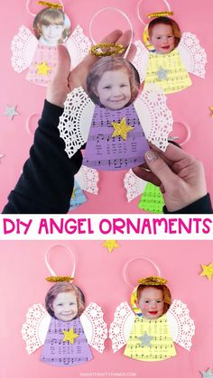 These DIY angel ornaments are a super easy craft for kids to make. Use our free template to make these cute homemade photo Christmas ornaments for gifts. #iheartcraftythings