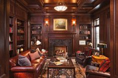 rich and cozy, old world traditional wood paneled room
