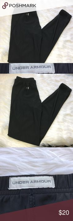 Black Under Armour Running Athletic Full Leggings Some wear, no holes or Stains! Full Length skinny leggings. -add your items to a bundle so I can make you a discount offer!  -some items prices are firm unless bundled  -no holds  -no trades  -same day or next day shipping Under Armour Pants Leggings