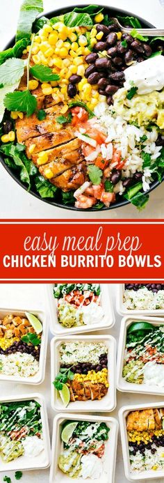 EASY MEAL PREP Chicken Burrito Bowls!! Tons of short-cuts for a better than a restaurant burrito bowl! via chelseasmessyapron.com