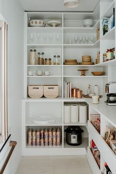 Cheap Home Decor Would You Put Your Fridge in the Pantry? Sarah Sherman Samuel Did.Cheap Home Decor Would You Put Your Fridge in the Pantry? Sarah Sherman Samuel Did Kitchen Pantry Design, Kitchen Organization Pantry, Home Organisation, Pantry Shelving, Organization Ideas For The Home, Kitchen Ideas, Pantry Diy, Refrigerator Organization, Kitchen Pantry Cabinets