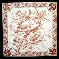 aesthetic movement | Aesthetic Movement Tile ~ Birds with Raspberries 1885