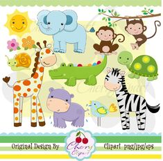 Jungle Animals digital clipart and digital papers by Cherryclipart, $5.00