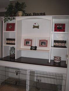 Crates and shelving unit for your home and your dogs. Perfect DIY, homemade entertainment center than can accommodate your pets and keep space free for more activities. Dog bed within the entertainment center Food Dog, Dog Crate Furniture, Furniture Ads, Dog Spaces, Small Spaces, Dog Rooms, Yorkies, Dog Houses, Dog Design