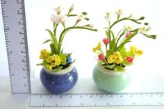 Mini Flowers in ceramic pot set of 2 pieces by Mycraftgarden