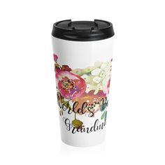 World's Best Grandma Stainless Steel Travel Mug, Best Grandma Travel Mug, Rose Travel Mug @julielcleveland