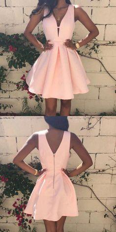 Simple A-Line V-Neck Sleeveless Pink Short Homecoming Dress With Pleats Spring Formal Dresses, Hoco Dresses, Junior Dresses, Dresses For Teens, Satin Dresses, Dance Dresses, Pretty Dresses, Homecoming Dresses, Graduation Dresses