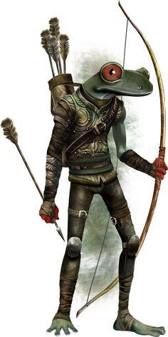 http://paizo.com/image/content/PathfinderRPG/PZO1121-Grippli.jpg Bullywug archer.
