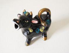 Cow Creamer Ceramic Vintage Black Bull Figurine