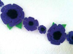 Purple Flower Garland Felt Garland Purple Wedding by heartFeltbyA, $15.00