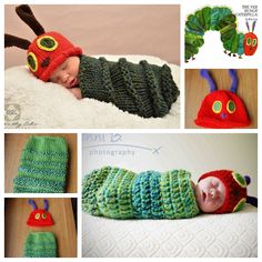 Knitted Very Hungry Caterpillar hat & cocoon set . SO CUTE FREE PATTERN--> http://wonderfuldiy.com/wonderful-diy-knitted-very-hungry-caterpillar/ #diy #knit