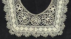 Cluny  Here is another example of the popular Cluny/Torchon bobbin laces: a child's collar that integrates the design elements well. It has braided mesh and slim, oval leaves. These are the point d'esprit first devised by early Genoese bobbin lace maker