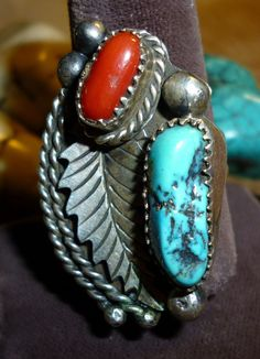 Large Very Beautiful Estate Navajo Sterling Ring in Red Branch Coral & Kingman Turquoise 1980s Sz 8 #YUM Only $174.95