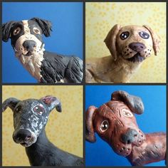 Customize your dogsFOUR paper clay dog sculptures on by indigotwin