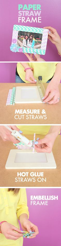 Dress up a plain frame with cute paper straws! This is a great project for kids to try.