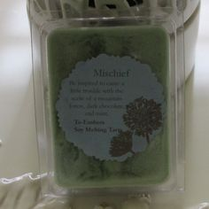 Check out this item in my Etsy shop https://www.etsy.com/listing/220868031/mischieviously-scented-soy-clamshell