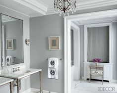 My husband wants gray bathroom walls. I guess it looks nice.