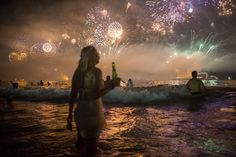 Fireworks light the sky over Copacabana beach during New Year's Eve celebrations in Rio de Janeiro, Brazil. (Mauro Pimentel/Associated Press