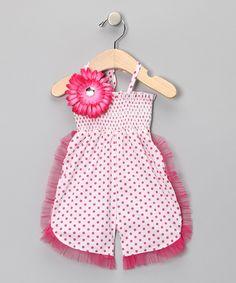 Hot Pink & White Ruffle Romper - Girls by Mia Belle Baby #zulily #zulilyfinds