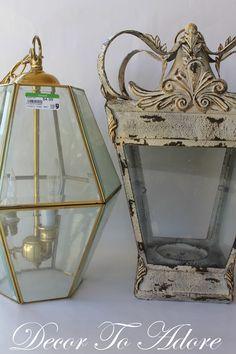 Diy French lantern using a thrifted 80s-era light.