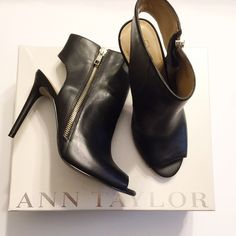 Ann Taylor Black Leather PeepToe Bootie 7.5 Brand New Never worn. Only tried on. Great for the upcoming Spring and Summer seasons. Has gold hardware. Comes with box. 100% Authentic. Size 7.5. Runs true to size. I don't trade so please do not ask. I only sell on Posh so don't ask if I sell on other sites or take paypal.  Do not ask what my lowest is or comment with an offer price. Please use the offer button to make a reasonable offer. Ann Taylor Shoes Heeled Boots