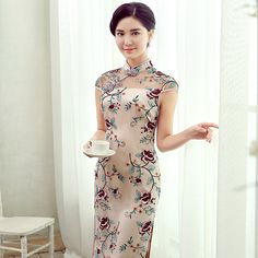 Charming+Emboridery+Lace+Knee+Length+Cheongsam+Qipao+Dress+-+Qipao+Cheongsam+&+Dresses+-+Women