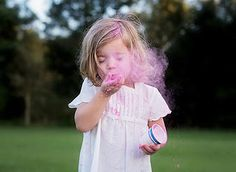 gender reveal using siblings - plus a DIY tutorial for your own color powder