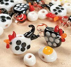 4 - Chicken 'n Egg Lampwork Glass Beads