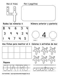 Números hasta el 10 - modificado 2nd Grade Activities, Kindergarten Math Activities, Preschool Writing, Math Literacy, 2nd Grade Math, Fun Activities For Kids, Preschool Worksheets, Math Classroom, Spanish Lessons For Kids