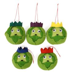 Felt Brussels Sprout decorations - set of 5 - Christmas Tree Decorations - Paperchase.