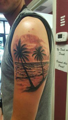 Beach, waves, palm trees tattoo