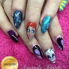 Beautiful nail art designs that are just too cute to resist. It's time to try out something new with your nail art. Disney Princess Nails, Disney Nails, Nail Art Designs, Acrylic Nail Designs, Little Mermaid Nail Art, Mermaid Art, Cute Nails, Pretty Nails, Disney Inspired Nails