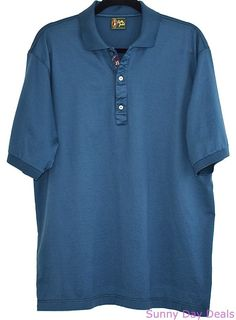 Bobby Jones Shirt Polo Cotton Short Sleeve Golf Italy Mens Solid Teal Green XL #BobbyJones #PoloRugby