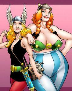 Versiones femeninas de los superheroes: ASTERIXIA y OBLEXIA