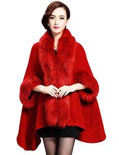 64ca171f951df Aphratti Women s Winter Shawl Cloak Cape Coat with Warm Faux Fur One Size  Purplish Red