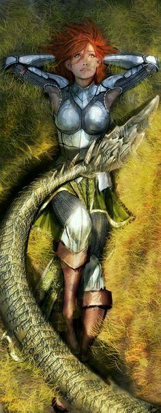 Green dragon and war girl