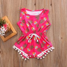 4d9395ce36b Cool Pineapple Pom Pom Romper with Snaps