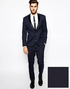 ASOS Slim Fit Tuxedo Suit in Navy at ASOS