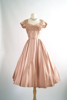 Vintage 1950s Rosewood Satin Cocktail Dress by xtabayvintage