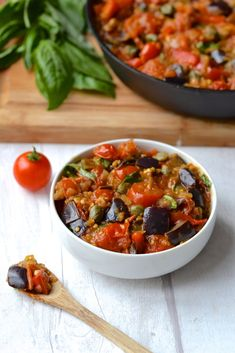 This eggplant caponata is fast and easy to make and is bursting with flavours. Incredibly versatile it's great as a side dish, sauce, dip or appetiser. Eggplant Caponata, Eggplant Salad, Eggplant Dishes, Healthy Eggplant, Vegetable Dishes, Vegetable Recipes, Vegetarian Recipes, Cooking Recipes, Healthy Recipes