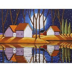 """Art Print 5""""x7"""" Folk Art Giclee Night Moon Stars, Fall Water Reflection Landscape, Autumn Archival Artwork SoloWorkStudio by Cathy Horvath"""
