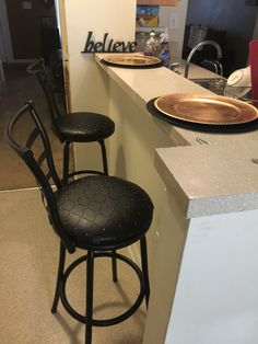 Recover Bar Stools With Fabric And Clear Vinyl She Did