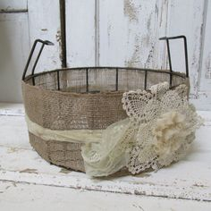 Large burlap lace metal basket rusty shabby by AnitaSperoDesign