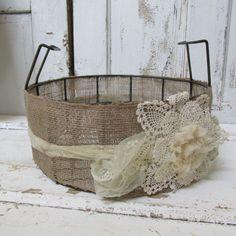 Large burlap lace metal basket rusty shabby by AnitaSperoDesign