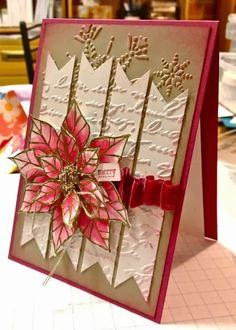handmade Christmas card from distINKtive STAMPING designs with Ann Craig : Joyful Christmas with a touch of Vintage . love the layering of the poinsettia . on kraft . Stampin' Up! Christmas Crafts For Adults, Homemade Christmas Cards, Christmas Cards To Make, Noel Christmas, Thanksgiving Crafts, Xmas Cards, Homemade Cards, Handmade Christmas, Holiday Cards